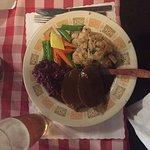 Sauerbraten Plate, cabbage, vegggies, and potato salad
