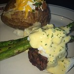 Oscar-style filet with lump crab meat, asparagus, and Bernaise sauce