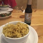 Vegan mac & cheese side dish with Maine root beer