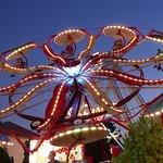 Funland rides at night.