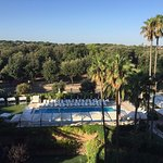 View from balcony to pool and Villa Borghese park