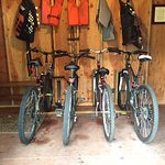 activities shed with bikes & life vests for canoes
