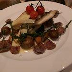 Pan Fried Day Boat Halibut, Purple Potatoe Crisps, Carrots, Confit Tomatoes, Samphire & Beurre B