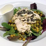 Very good Wild Rice salad with chicken and mayo.