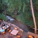 Outside dining by the creek