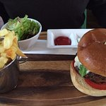 Lamb burger with chips
