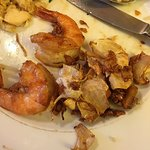 Shrimp in pineapple & shrimp with garlic...yum! Look at all the great sautéed garlic...very flav