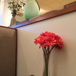 flowers at the table.