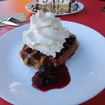 The liege waffle with berry compote, and whipped cream. Every bite was delicious.
