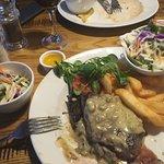 Fillet steak arrives a bit small but hey ho got two salads