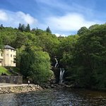 Hotel from the loch with Arklet Falls to the right