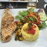 Swordfish, timbale of rice, ratatouille, salad garnish