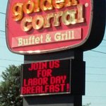 Golden Corral sign out front