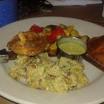 Buttermilk chicken, potato salad and cornbread,