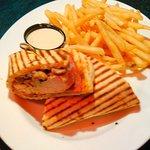 Chicken Cordon Bleau Sandwich and Fries.