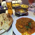 Lamb, chicken tikka and king prawn balti served with naan bread.  Bring your own Kingfisher.  Pe