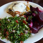 The vegetable lasagna with roasted beet salad and tabouli