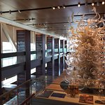 Museum interior with glass tree that was a gift to the Clintons