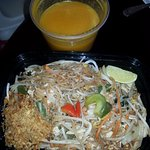 Basil Pad Thai with chicken, and Pumpkin Soup