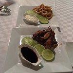 Grilled octopus and fried calamari at the diner menu.