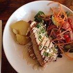 Salmon, with aioli, potatoes and salad