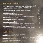 Bar Snack menu