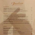 Pavilion Restaurant menu