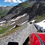 Going back down the mountain. This was in July. Still a good amount of snow up there.
