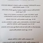 August 2016 dinner menu - The lamb and sticky toffee pudding were amazing!!