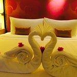 Towel Art, Names written on the pillows.
