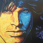 Jim Morrison mural at front of hotel
