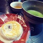 梅ヶ枝餅と抹茶