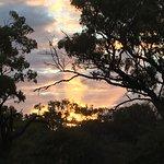 Sunset behind the Bedrock Village