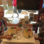 Dee Poujade and Kay Ward enjoying dinner at Denise's