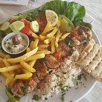 Amazing chicken souvlaki! Tasty and really filling!
