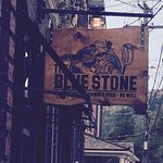 The Blue Stone sign on Stowe Street, Waterbury.