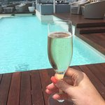 Bubbles on the rooftop pool