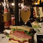 Club sandwich, blue cheese burger and a couple cold brewskies!
