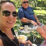 Me and Marty enjoying our Ceviche and chicken salad in Forsyth Park.