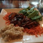 Korean BBQ with edamame, shredded carrots and brown rice. The chicken was finger licking good.