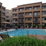 Pool is mor than the puddle many hotels have and is, I think, lit at night. Only steps from the
