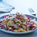 Pear & Endive Salad: Fresh seasonal pears, shaved bleu cheese, candied bacon, pear vinaigrette