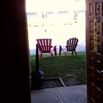 Inviting lawn chairs outside of Room 105