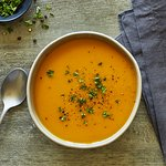 Butternut & Sweet Potato Soup: creamy roasted squash blended with sweet potatoes & winter spices
