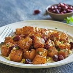 Roasted Butternut Salad: Honey roasted butternut squash with cranberries, feta & parsley