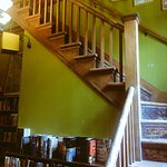 Staircase to the cafe above the bookstore.