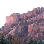 Enlarged photo of Rushmore sunrise as viewed from our room
