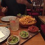 Chorizo tacos, beef tacos and guac w nachos. Good times.