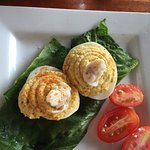 deviled eggs with crab topping