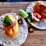 Fish tacos, side salad and the amazing Angus beef burger